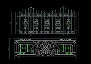 歐式兩個鐵藝圍墻欄桿素材設計cad方案
