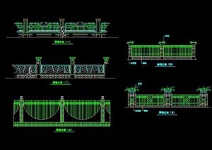 五种不同的围墙栏杆素材cad方案