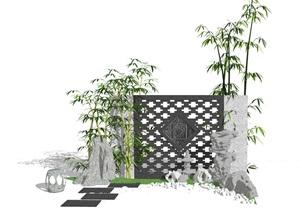 新中式庭院景墙石头景观小品SU(草图大师)模型