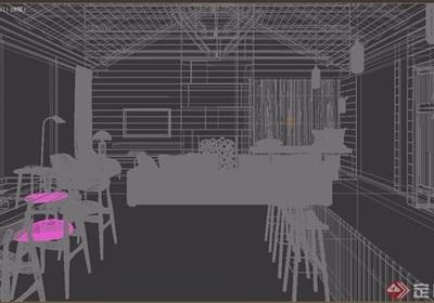 现代客厅餐厅装饰3d模型