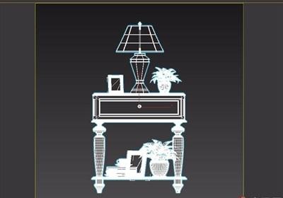 欧式风格详细的床头柜素材设计3d模型
