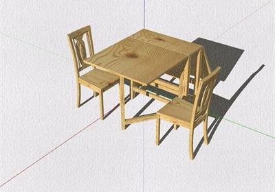 多种不同的详细餐桌椅组合设计su模型
