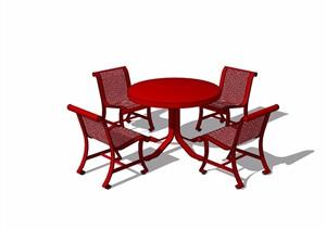 4种不同的详细餐桌椅组合设计SU(草图大师)模型