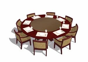 4种不同的详细餐桌椅设计SU(草图大师)模型