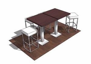 六种不同的详细餐桌椅组合设计SU(草图大师)模型