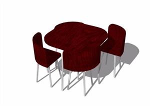 不同的详细餐桌椅组合设计SU(草图大师)模型