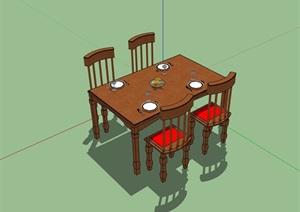 某详细的多种不同餐桌椅组合设计SU(草图大师)模型