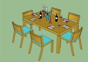 五种详细的餐桌椅组合设计SU(草图大师)模型