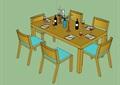 五种详细的餐桌椅组合设计su模型
