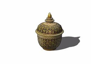 详细的完整多种装饰摆件素材设计SU(草图大师)模型