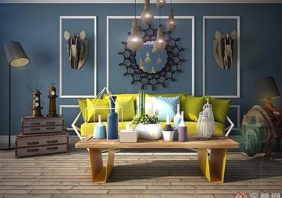某详细的室内客厅沙发茶几、灯饰组合设计3d模型及效果图