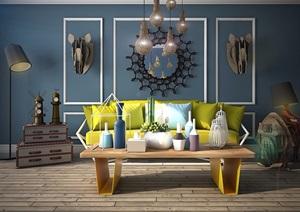 某详细的室内客厅沙发茶几、灯饰组合设计3d模?#22270;?#25928;果图