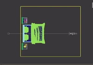 现代风格卧室床及柜子设计3d模型
