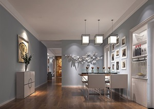 详细的室内完整的客餐厅装饰设计3d模型及效果图