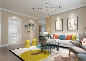 详细的完整室内客厅装饰设计3d模?#22270;?#25928;果图