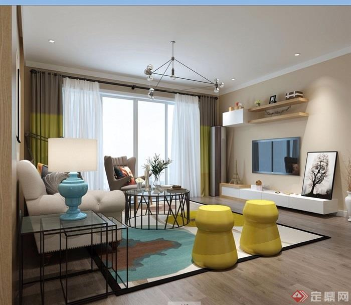详细的完整室内客厅装饰设计3d模型及效果图