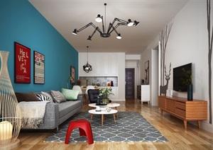 某现代详细室内客厅装饰设计3d模?#22270;?#25928;果图