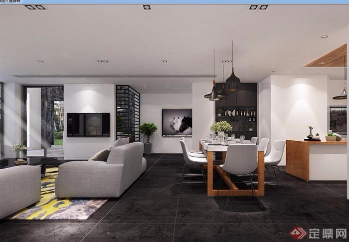 某现代独特完整的室内客厅装饰设计3d模型及效果图