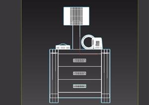 現代詳細的室內床頭柜素材設計3d模型