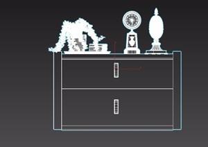 某詳細的室內柜子及裝飾品素材設計3d模型