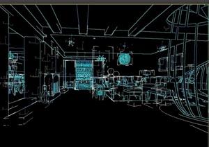 住宅空间室内完整客餐厅3d模型