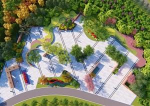 创意现代景墙党建广场设计SU(草图大师)模型