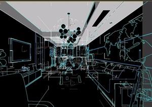 现代住宅空间客餐厅室内3d模型