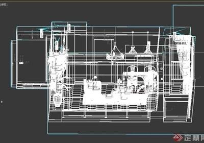 某完整的住宅空间室内客厅3d模型