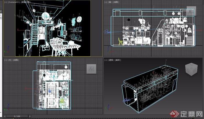 某整体客厅餐厅室内3d模型