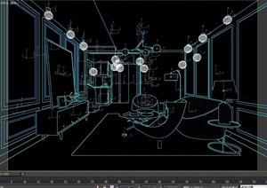 某详细室内客厅空间室内3d模型