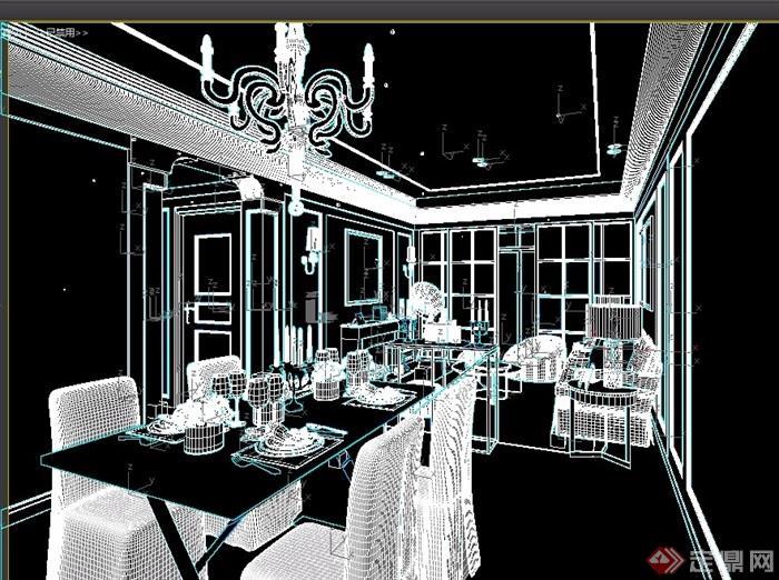 某完整的室内客餐厅装饰素材3d模型