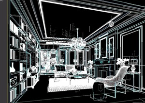 某独特详细住宅室内客厅3d模型