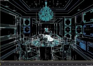 简欧餐厅餐桌椅组合设计3d模型
