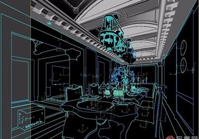 欧式巴洛克餐厅餐桌椅组合设计3d模型