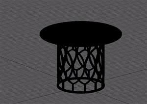 欧式镂空金漆桌子素材设计3d模型