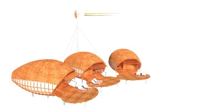 特色木屋su72套模型(3)