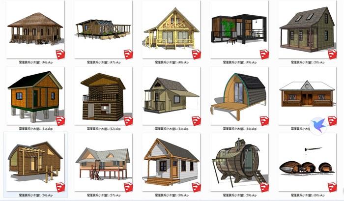 特色木屋su72套模型(7)