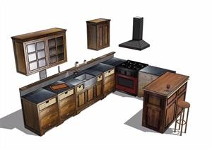 某独特详细的厨房橱柜设施素材设计SU(草图大师)模型