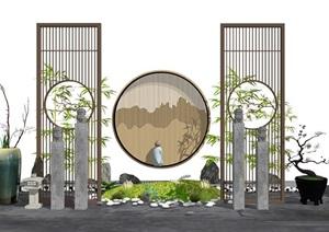 新中式禅意隔断 景观小品 组合SU(草图大师)模型