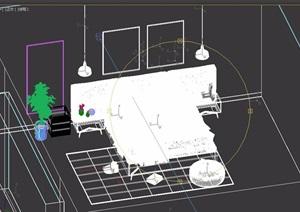 某详细的室内双人床素材设计3D模型