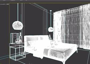 卧室详细的床柜完整设计3d模型