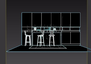 现代吧台桌椅素材设计3d模型