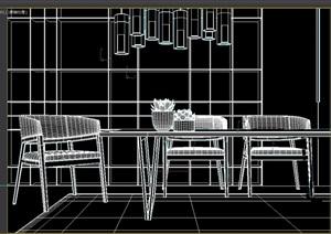 现代餐厅桌椅素材设计3d模型