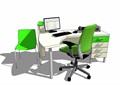 现代风格详细的室内办公电脑桌椅su模型