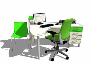 现代风格详细的室内办公电脑桌椅SU(草图大师)模型