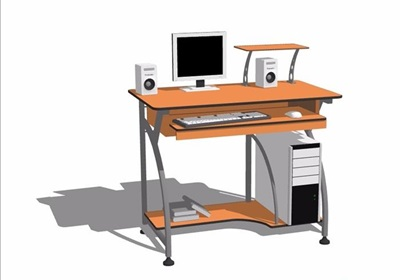 某电脑桌及电脑素材设计su模型