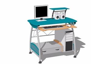 现代详细的室内电脑桌素材设计SU(草图大师)模型