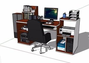 详细的室内电脑桌椅素材设计SU(草图大师)模型