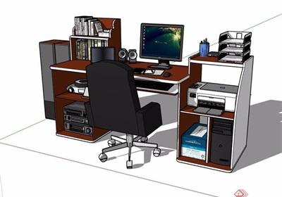 详细的室内电脑桌椅素材设计su模型