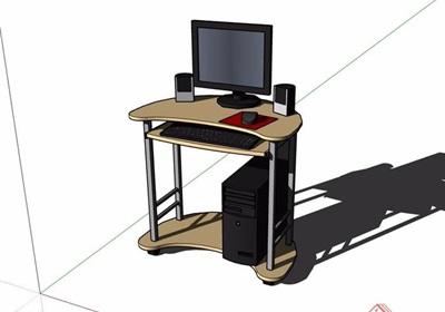 详细的室内电脑及桌子素材设计su模型